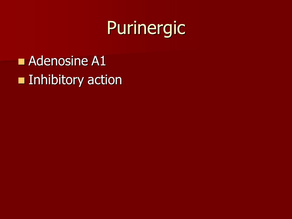 Purinergic Adenosine A1 Adenosine A1 Inhibitory action Inhibitory action