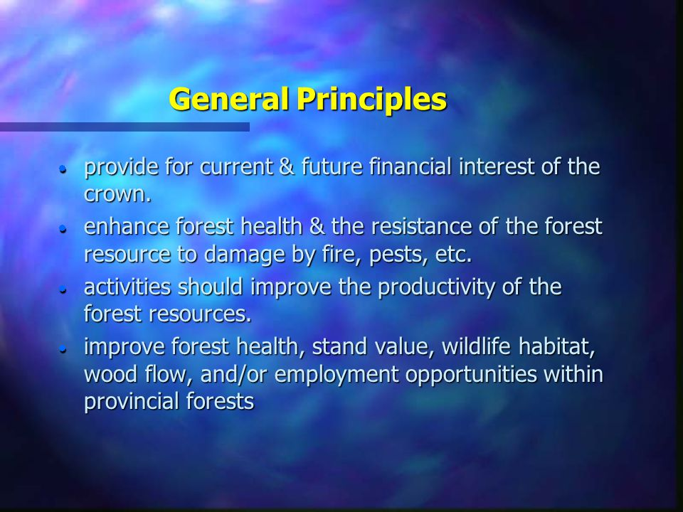 General Principles n The Silviculture Strategy - is consistent with the forest stewardship principles outlined in key legislation (Forest Practices Co