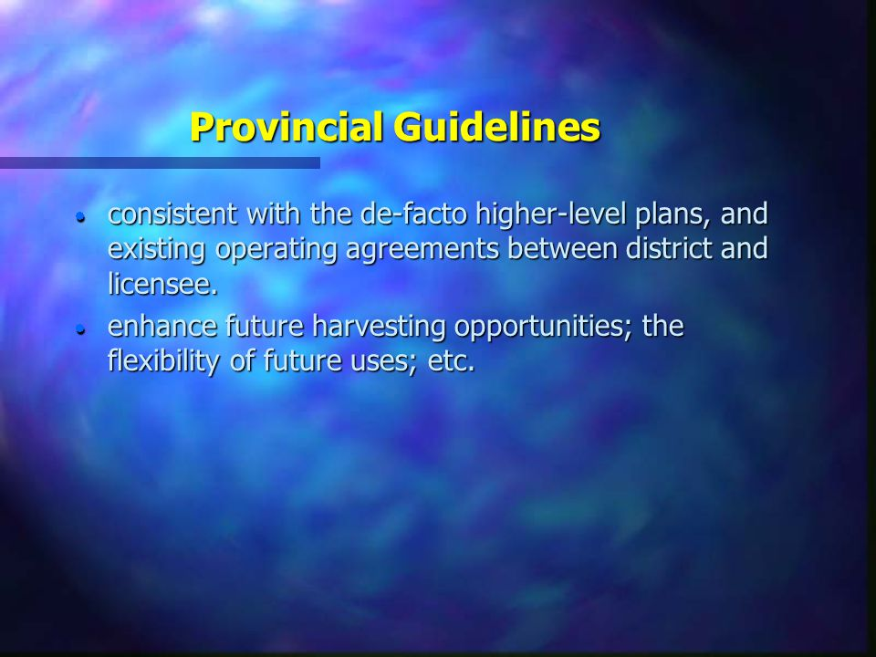 Provincial Guidelines n present a silviculture program consistent with guidelines established in various policy documents n protect the financial interest of crown by –creating a future timber resource of timber high value and low operating cost; –ensuring that treatments are effective and costs reasonable, –ensuring that past investments in treatments are not lost; etc.
