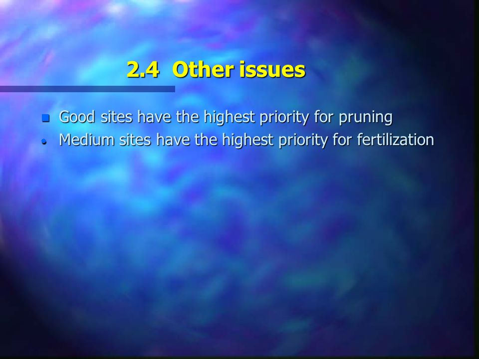 2.3 Low Priority  where the security of investment is questionable because of land alienation, pests, etc.