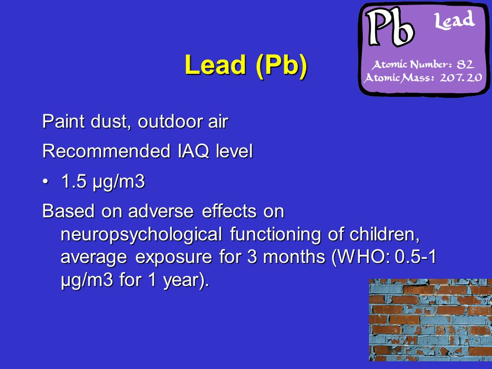 Lead (Pb) Paint dust, outdoor air Recommended IAQ level 1.5 µg/m31.5 µg/m3 Based on adverse effects on neuropsychological functioning of children, average exposure for 3 months (WHO: 0.5-1 µg/m3 for 1 year).