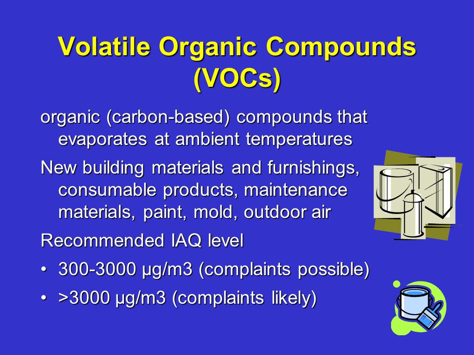 Volatile Organic Compounds (VOCs) organic (carbon-based) compounds that evaporates at ambient temperatures New building materials and furnishings, consumable products, maintenance materials, paint, mold, outdoor air Recommended IAQ level 300-3000 µg/m3 (complaints possible)300-3000 µg/m3 (complaints possible) >3000 µg/m3 (complaints likely)>3000 µg/m3 (complaints likely)