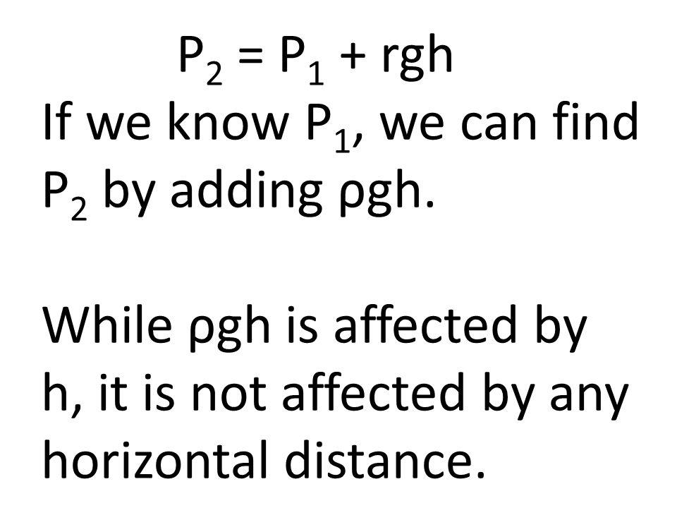 P 2 = P 1 + rgh If we know P 1, we can find P 2 by adding ρgh.