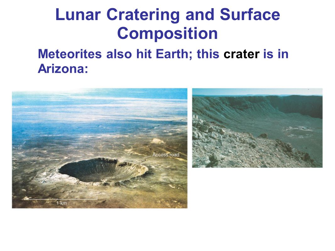 Meteorites also hit Earth; this crater is in Arizona: Lunar Cratering and Surface Composition