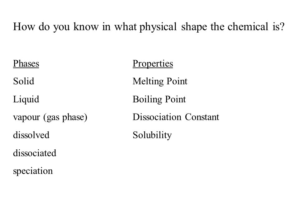 How do you know in what physical shape the chemical is.