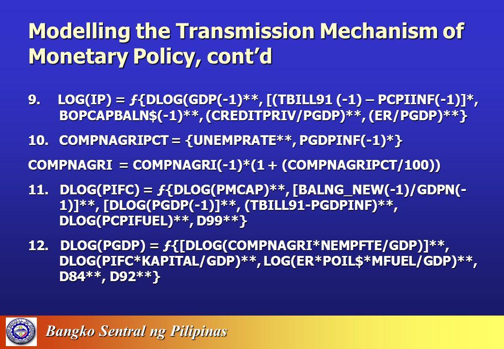 Bangko Sentral ng Pilipinas 5. BM = RM + LIQRES + REGS + RESPOSITION 6. MM = (1 + CDR) / (CDR + RDR + (CASHINVDMB / TD) + LDR + ((REGS + RESPOSITION)
