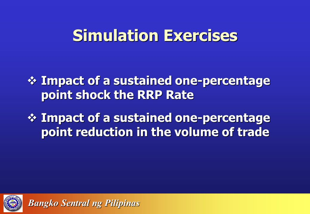 Bangko Sentral ng Pilipinas Error Statistics Static Simulation, 1988-2001 MAPEMAE Base Money 3.8 Wage (COMPNAGRI) 2.5 Private Consumption 1.0 GDP 1.2 Total Investment 5.0 Imports 1.8 M3 4.4 Exports 2.8 GDP Implicit Price Index 1.6 91-day T-bill0.8 Inflation Rate1.2 Unemployment Rate0.7