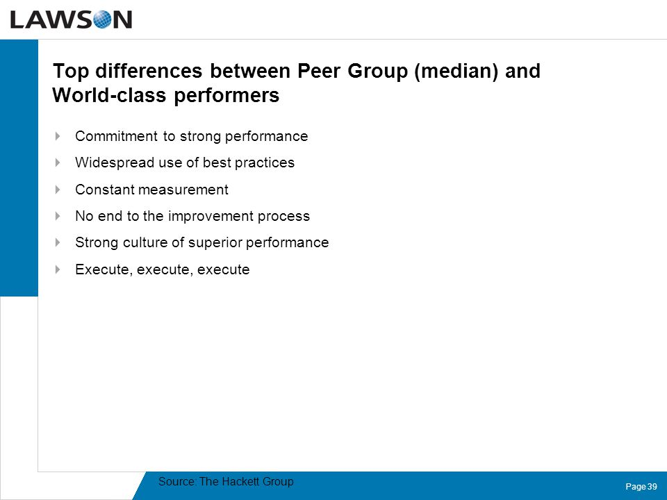 Page 39 Top differences between Peer Group (median) and World-class performers  Commitment to strong performance  Widespread use of best practices 