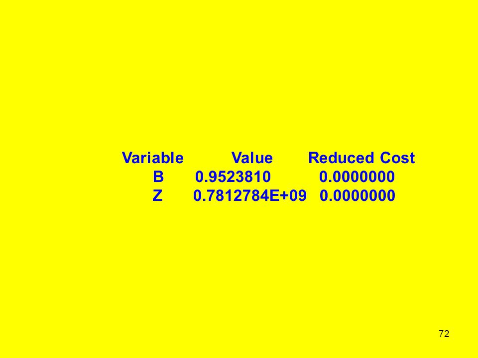 72 Variable Value Reduced Cost B 0.9523810 0.0000000 Z 0.7812784E+09 0.0000000