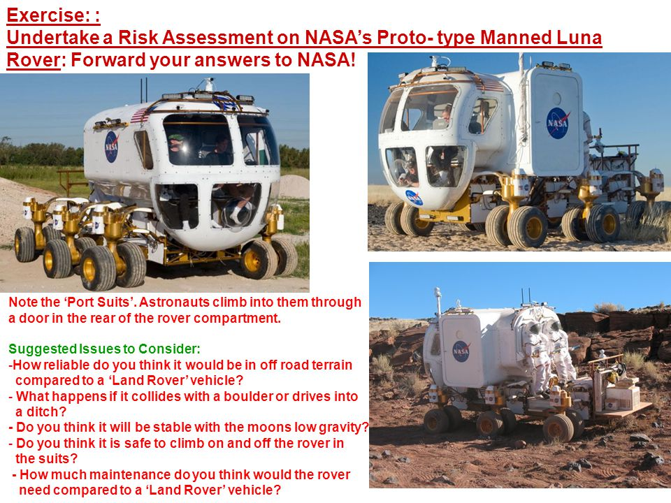 Exercise: : Undertake a Risk Assessment on NASA's Proto- type Manned Luna Rover: Forward your answers to NASA.