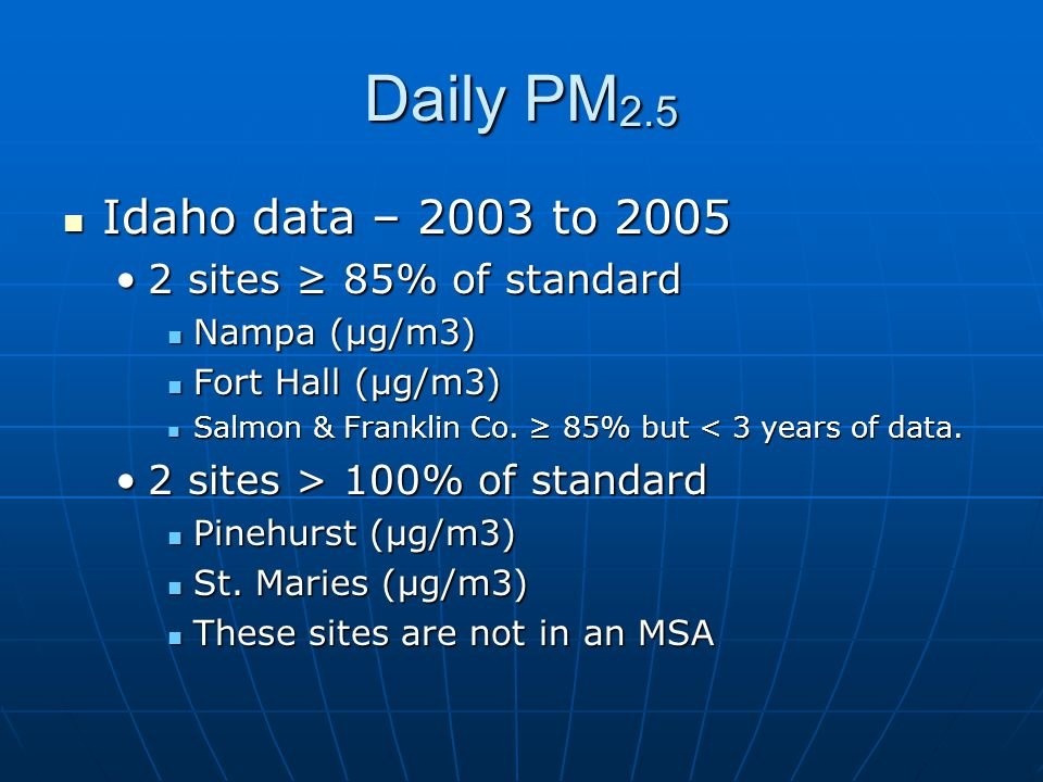Daily PM 2.5 Idaho data – 2003 to 2005 Idaho data – 2003 to 2005 2 sites ≥ 85% of standard2 sites ≥ 85% of standard Nampa (μg/m3) Nampa (μg/m3) Fort H