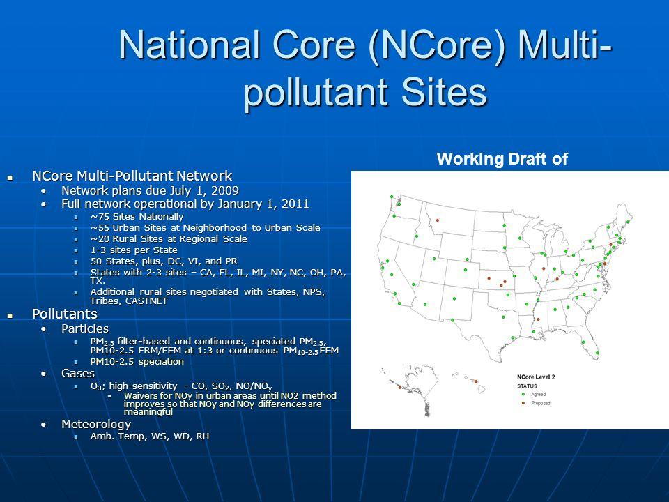 National Core (NCore) Multi- pollutant Sites NCore Multi-Pollutant Network NCore Multi-Pollutant Network Network plans due July 1, 2009Network plans d