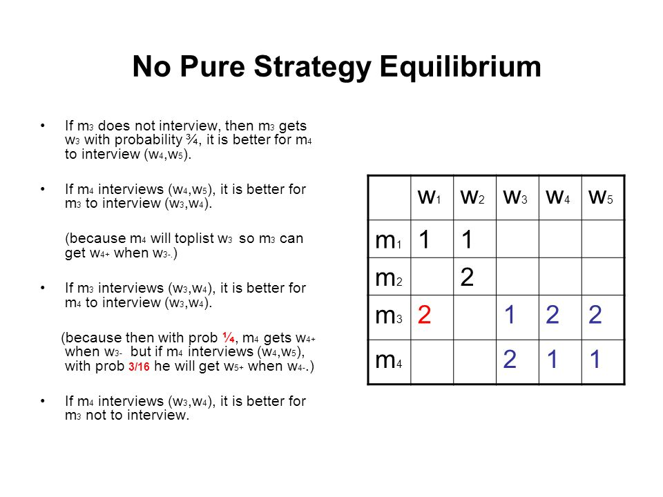 No Pure Strategy Equilibrium If m 3 does not interview, then m 3 gets w 3 with probability ¾, it is better for m 4 to interview (w 4,w 5 ). If m 4 int