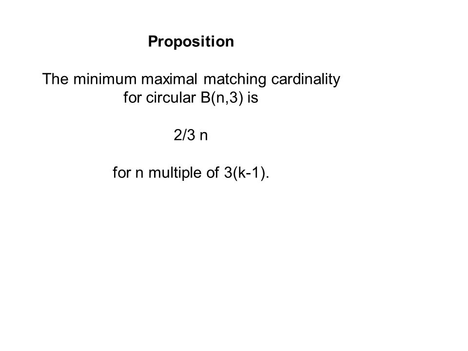 Proposition The minimum maximal matching cardinality for circular B(n,3) is 2/3 n for n multiple of 3(k-1).