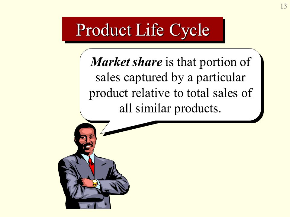 13 Market share is that portion of sales captured by a particular product relative to total sales of all similar products.