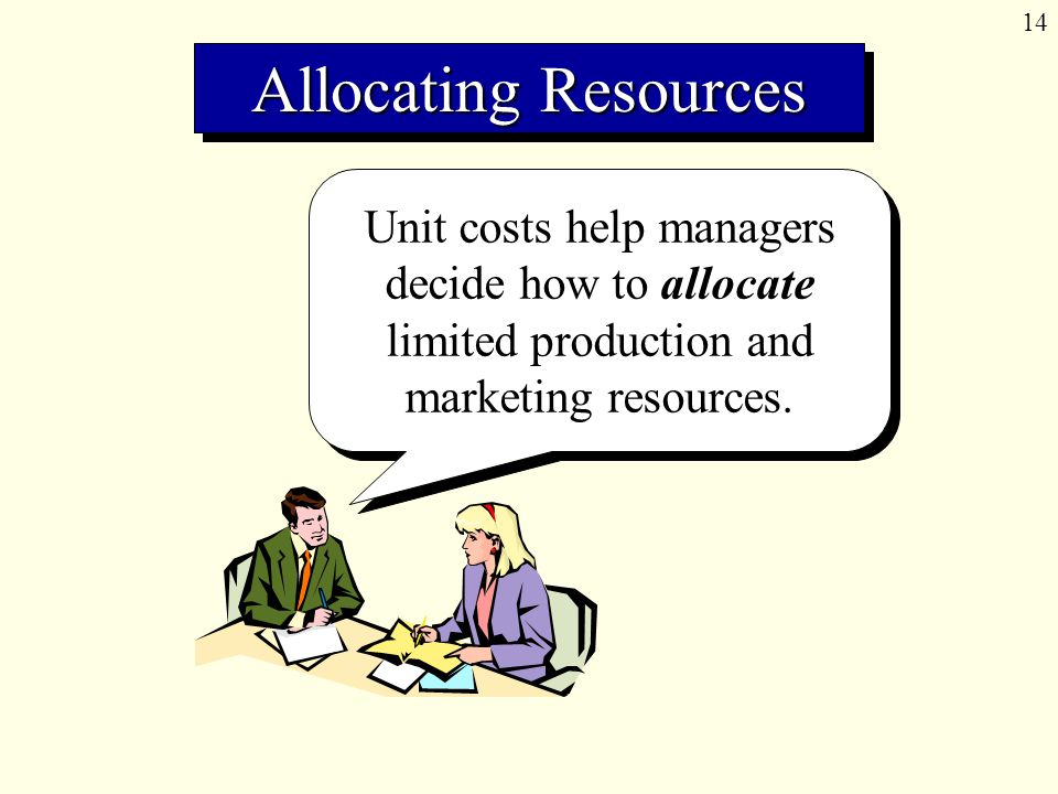 14 Unit costs help managers decide how to allocate limited production and marketing resources.