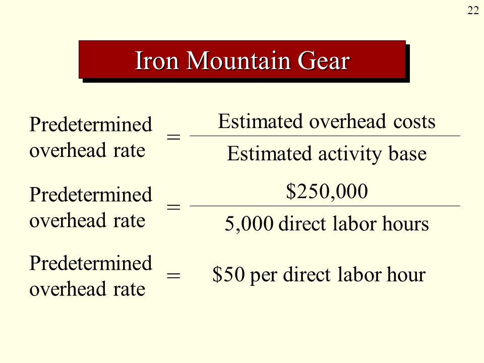 22 Predetermined overhead rate = Estimated overhead costs Estimated activity base Predetermined overhead rate = $250,000 5,000 direct labor hours Predetermined overhead rate = $50 per direct labor hour Iron Mountain Gear