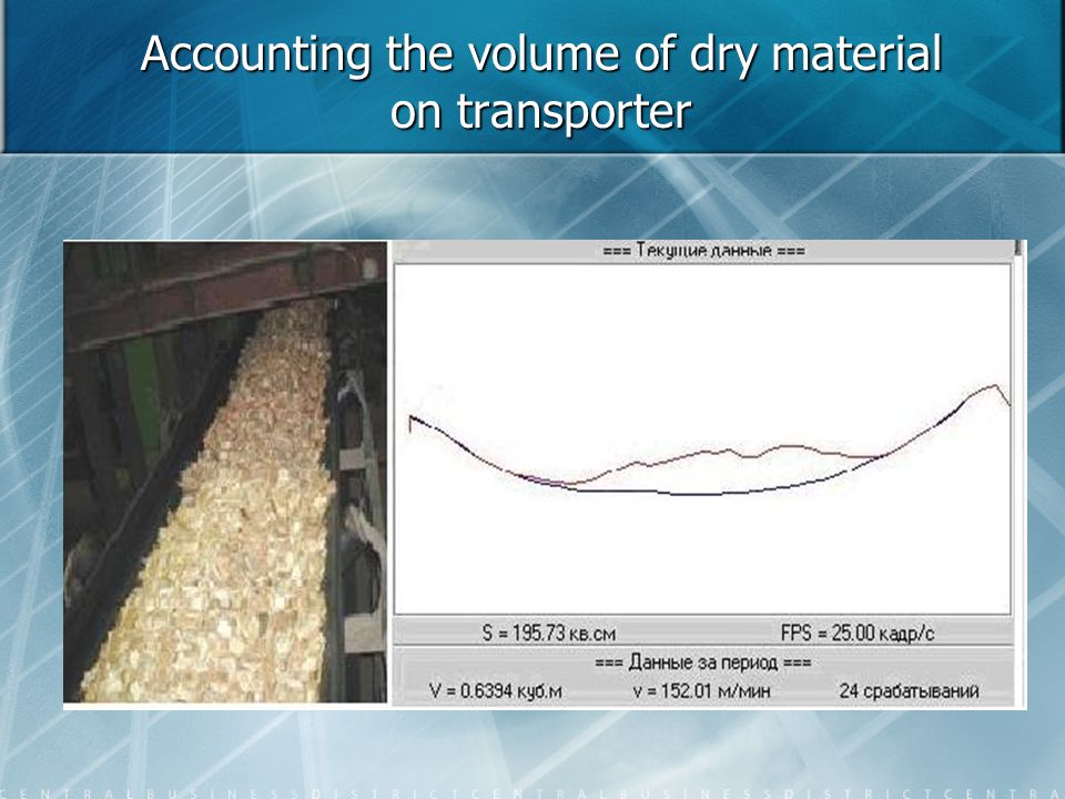 Accounting the volume of dry material on transporter