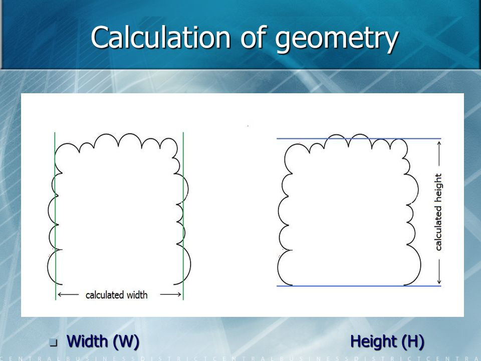 Calculation of geometry Width (W) Height (H)