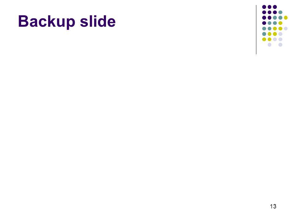13 Backup slide