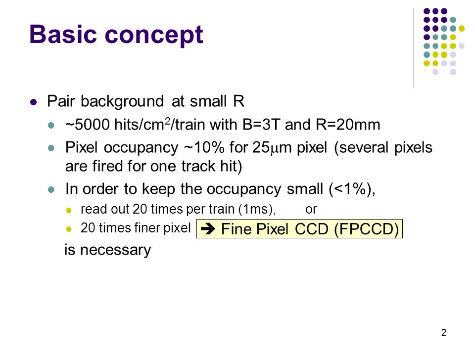 2 Basic concept Pair background at small R ~5000 hits/cm 2 /train with B=3T and R=20mm Pixel occupancy ~10% for 25  m pixel (several pixels are fired for one track hit) In order to keep the occupancy small (<1%), read out 20 times per train (1ms), or 20 times finer pixel is necessary  Fine Pixel CCD (FPCCD)