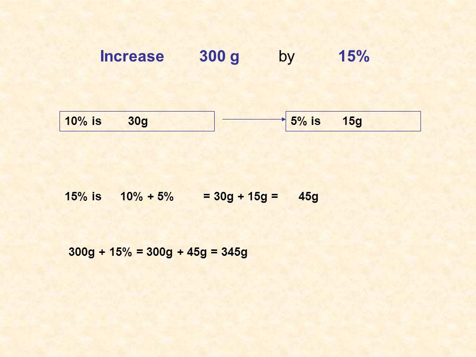 Percentage target board 2M3.2 IncreaseDecrease £7083 cm 350 g1 kg £12.50650 m by 11%17%120%38%16.5% Calculation: 70 x 0.89