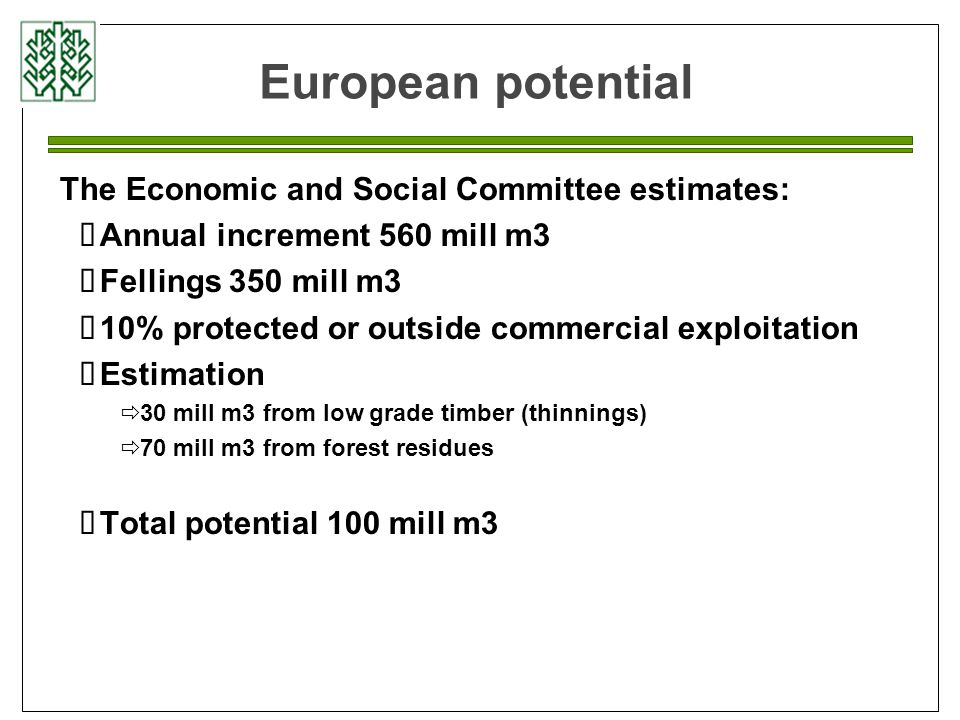 European potential The Economic and Social Committee estimates:  Annual increment 560 mill m3  Fellings 350 mill m3  10% protected or outside commercial exploitation  Estimation  30 mill m3 from low grade timber (thinnings)  70 mill m3 from forest residues  Total potential 100 mill m3