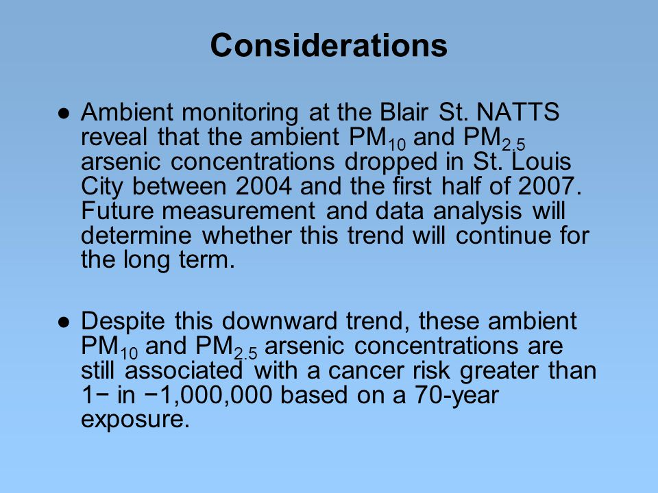 Considerations ● Ambient monitoring at the Blair St. NATTS reveal that the ambient PM 10 and PM 2.5 arsenic concentrations dropped in St. Louis City b