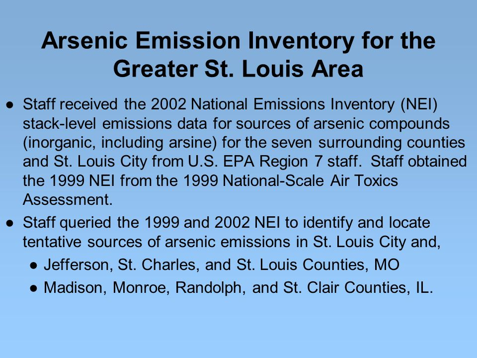 Arsenic Emission Inventory for the Greater St.