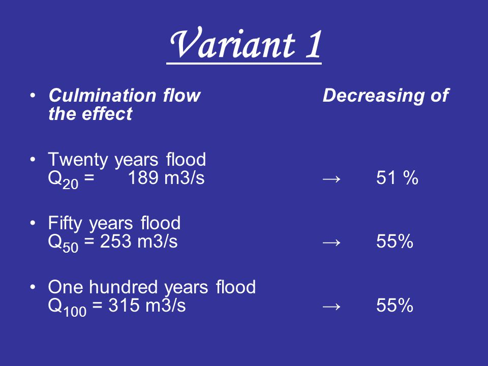 Variant 1 Culmination flowDecreasing of the effect Twenty years flood Q 20 = 189 m3/s→ 51 % Fifty years flood Q 50 = 253 m3/s→ 55% One hundred years f