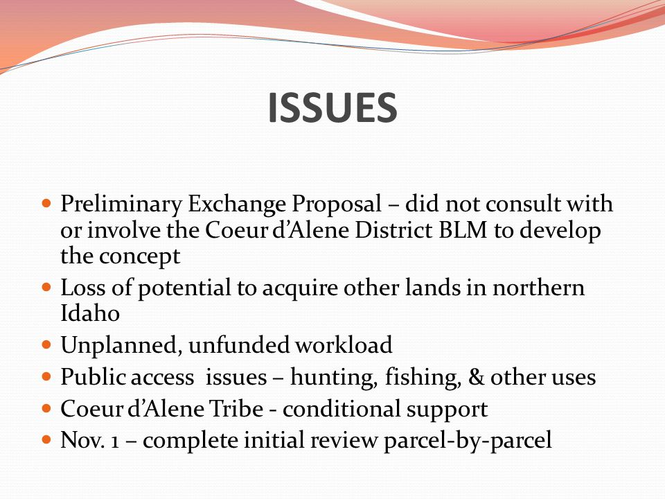 ISSUES Preliminary Exchange Proposal – did not consult with or involve the Coeur d'Alene District BLM to develop the concept Loss of potential to acquire other lands in northern Idaho Unplanned, unfunded workload Public access issues – hunting, fishing, & other uses Coeur d'Alene Tribe - conditional support Nov.