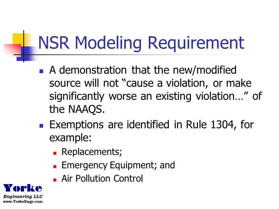 NSR Modeling Demonstration SCAQMD Rule 1303 Appendix A Screening Analysis If hourly emissions are less than the values in Table A-1, the modeling requirement is satisfied If source does not pass screening analysis, detailed modeling is required