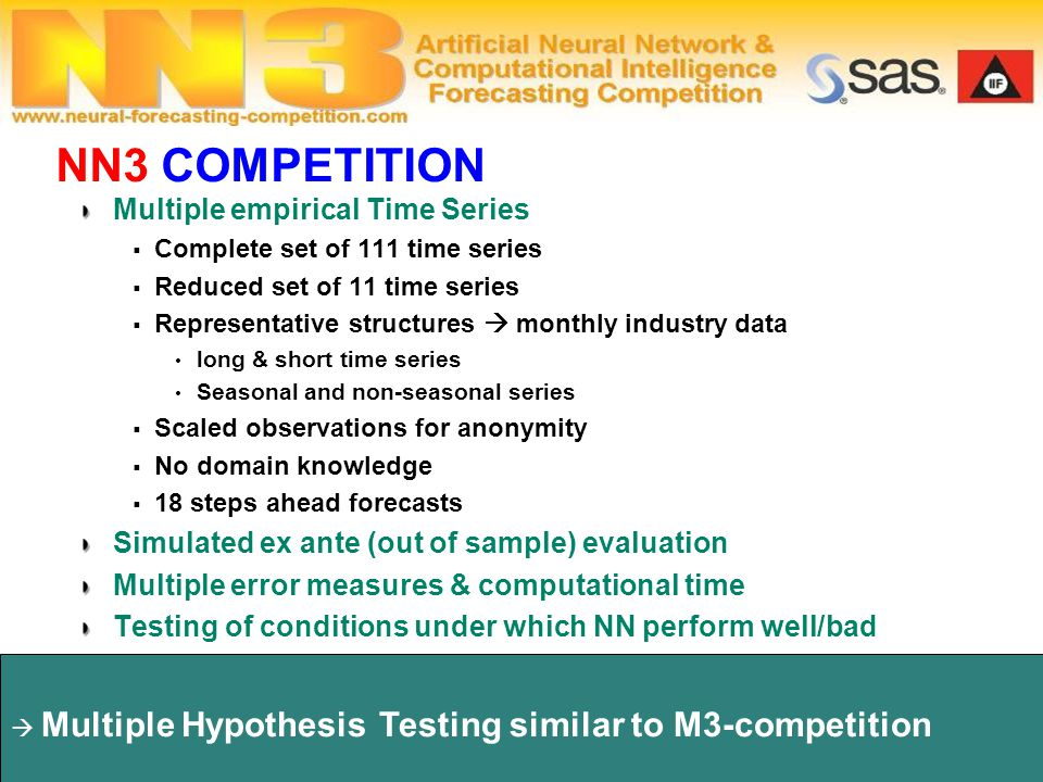  Multiple Hypothesis Testing similar to M3-competition Competition Design Multiple empirical Time Series  Complete set of 111 time series  Reduced