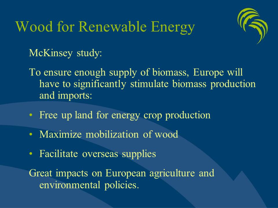 Wood for Renewable Energy McKinsey study: To ensure enough supply of biomass, Europe will have to significantly stimulate biomass production and impor