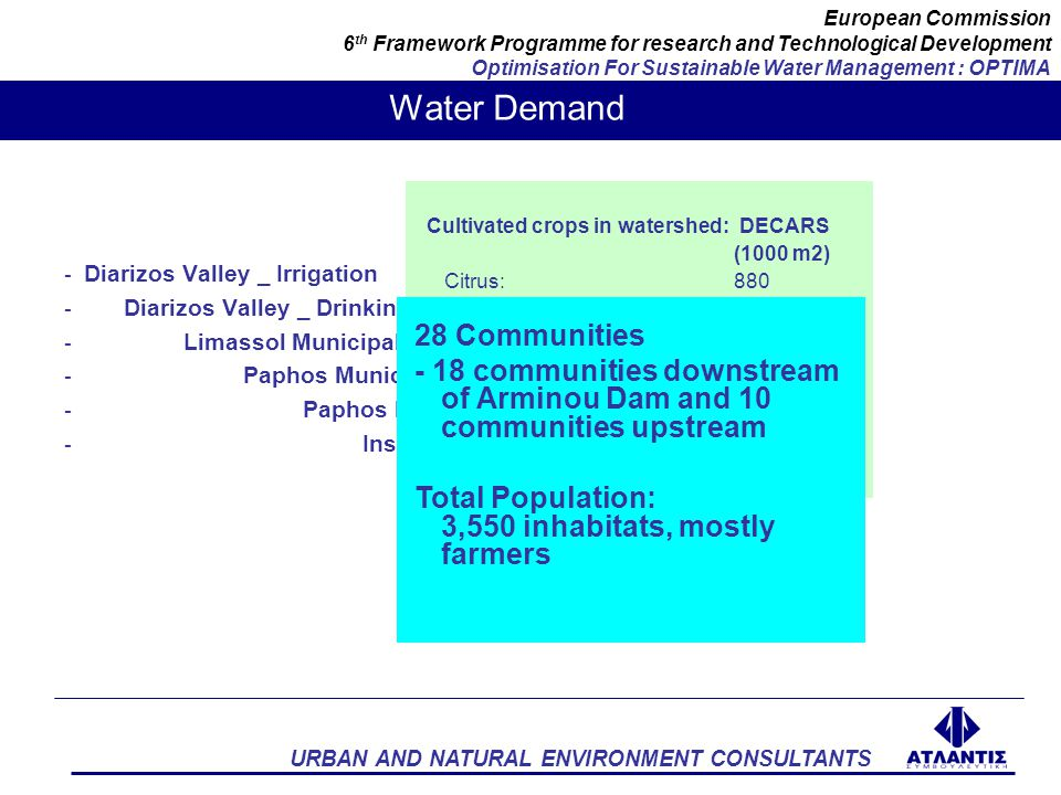 URBAN AND NATURAL ENVIRONMENT CONSULTANTS European Commission 6 th Framework Programme for research and Technological Development Optimisation For Sustainable Water Management : OPTIMA LANDUSE ARMINOY DAM DIVERSION PIPE TO KOURRIS WELLS LOCAL IRRIGATION AND POTABLE WATER NETWORKS DRIP IRRIGATION WELLS AND DIVERSION CHANNELS TO PAPHOS WATER MANAGEMENT INFRASTRUCTURE