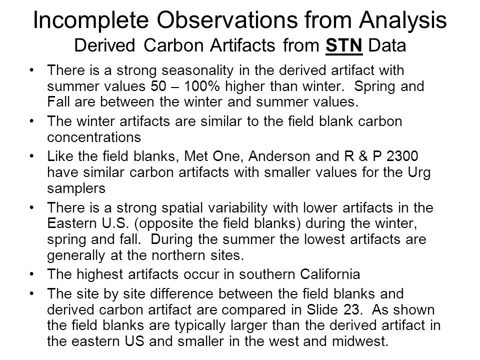 Incomplete Observations from Analysis Derived Carbon Artifacts from STN Data There is a strong seasonality in the derived artifact with summer values 50 – 100% higher than winter.