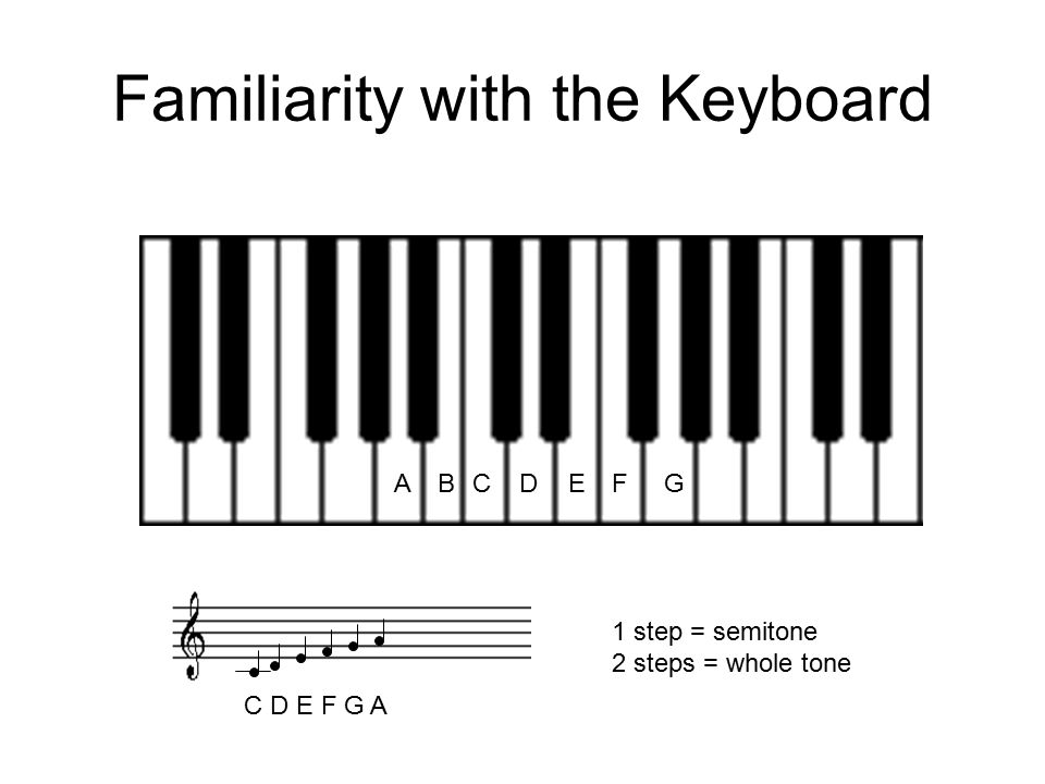 Familiarity with the Keyboard CDEGAFB 1 step = semitone 2 steps = whole tone C D E F G A