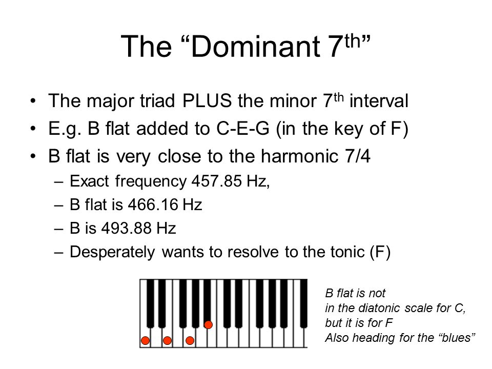 "The ""Dominant 7 th "" The major triad PLUS the minor 7 th interval E.g. B flat added to C-E-G (in the key of F) B flat is very close to the harmonic 7/"