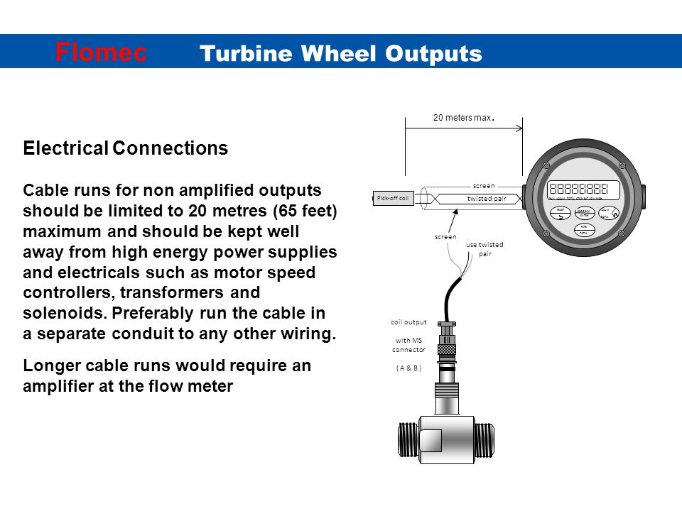 Turbine Wheel Outputs Flomec Amplified current pulse output with MS connector.