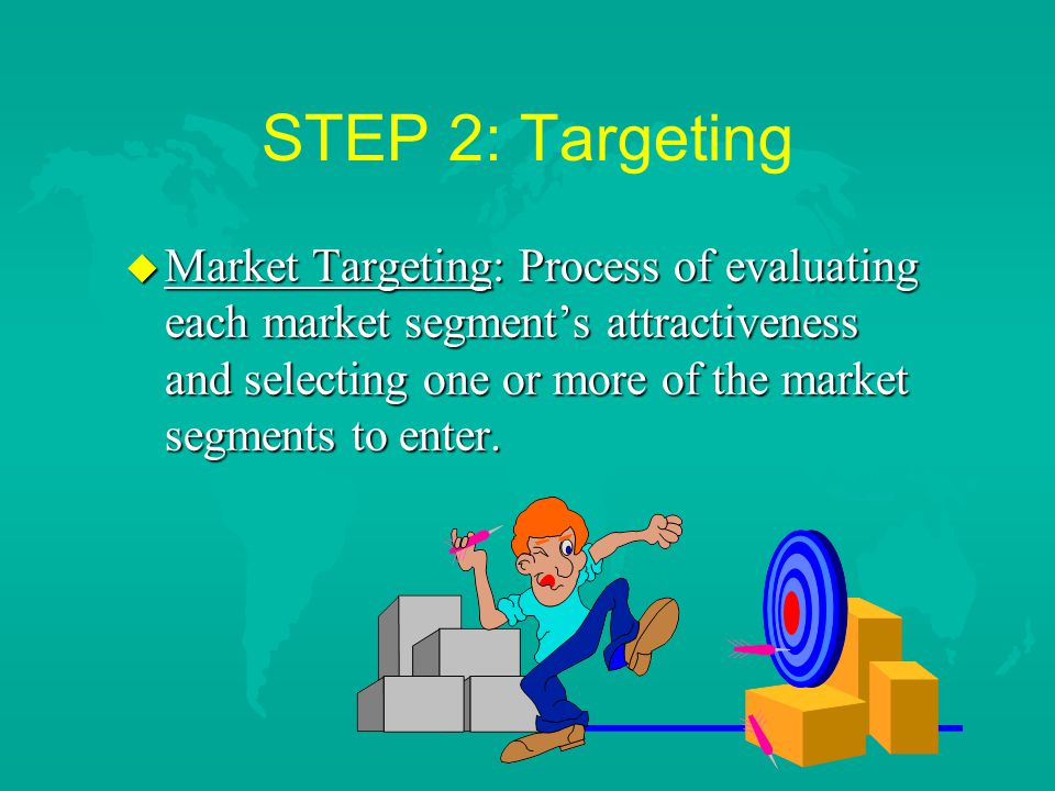 STEP 2: Targeting u Market Targeting: Process of evaluating each market segment's attractiveness and selecting one or more of the market segments to enter.