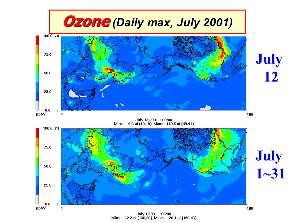 Ozone (Daily max, July 2001) July 12 July 1~31