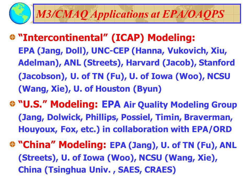 M3/CMAQ Applications at EPA/OAQPS Intercontinental (ICAP) Modeling: EPA (Jang, Doll), UNC-CEP (Hanna, Vukovich, Xiu, Adelman), ANL (Streets), Harvard (Jacob), Stanford (Jacobson), U.