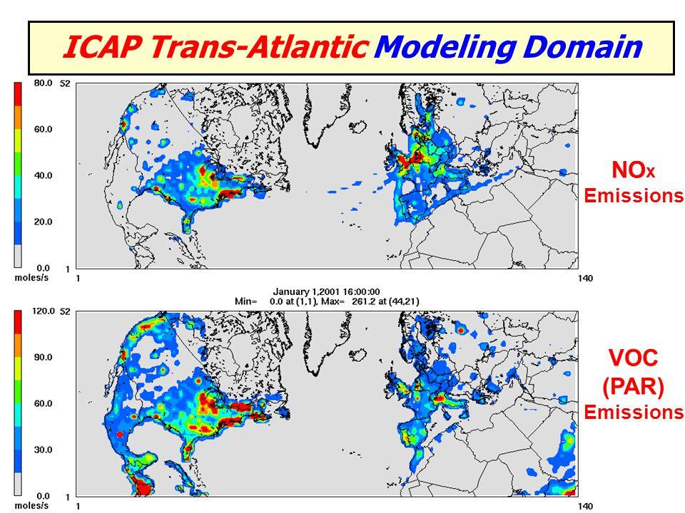 ICAP Trans-Atlantic Modeling Domain VOC (PAR) Emissions NO x Emissions
