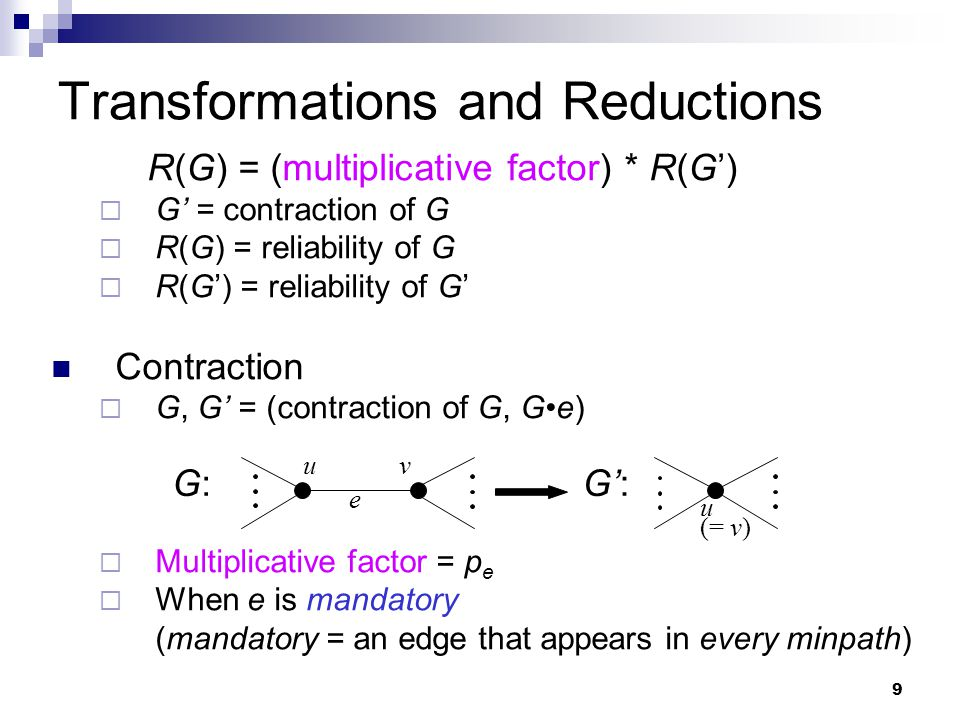 10 Transformations and Reductions Parallel Reduction  G, G'  Multiplicative factor = 1 Series Reduction  G, G'  Multiplicative factor = 1 G:G:G': p1p1 p2p2 p1 p2 p1p1 p2p2 1- (1- p1) (1- p2) G:G:G':