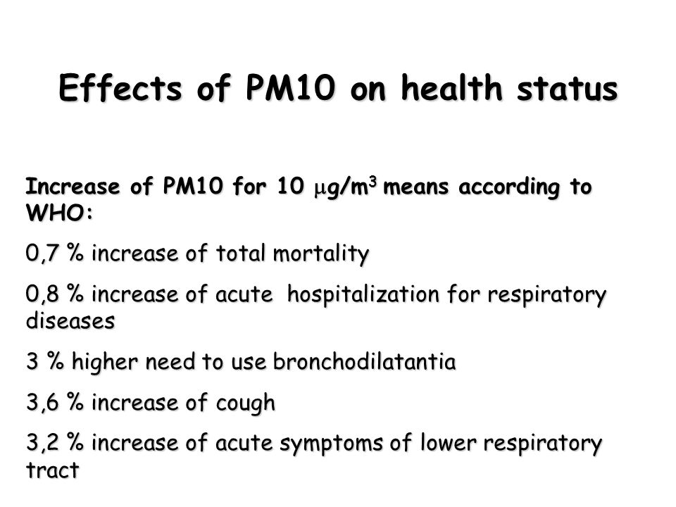 Effects of PM10 on health status Increase of PM10 for 10  g/m 3 means according to WHO: 0,7 % increase of total mortality 0,8 % increase of acute hospitalization for respiratory diseases 3 % higher need to use bronchodilatantia 3,6 % increase of cough 3,2 % increase of acute symptoms of lower respiratory tract