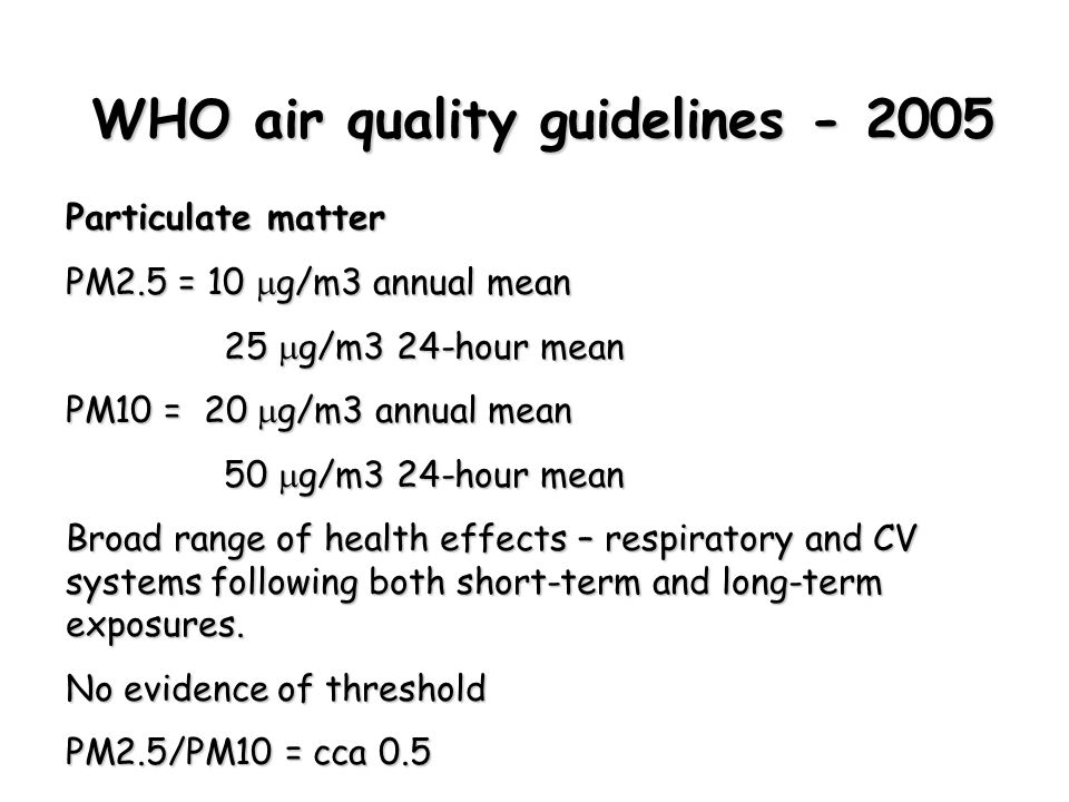 WHO air quality guidelines - 2005 Particulate matter PM2.5 = 10  g/m3 annual mean 25  g/m3 24-hour mean 25  g/m3 24-hour mean PM10 = 20  g/m3 annual mean 50  g/m3 24-hour mean 50  g/m3 24-hour mean Broad range of health effects – respiratory and CV systems following both short-term and long-term exposures.