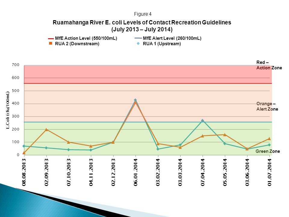Ruamahanga River E. coli Levels of Contact Recreation Guidelines (July 2013 – July 2014) MfE Action Level (550/100mL) MfE Alert Level (260/100mL) RUA