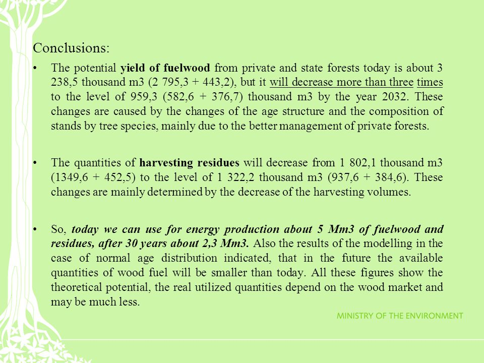 Conclusions: The potential yield of fuelwood from private and state forests today is about 3 238,5 thousand m3 (2 795,3 + 443,2), but it will decrease more than three times to the level of 959,3 (582,6 + 376,7) thousand m3 by the year 2032.