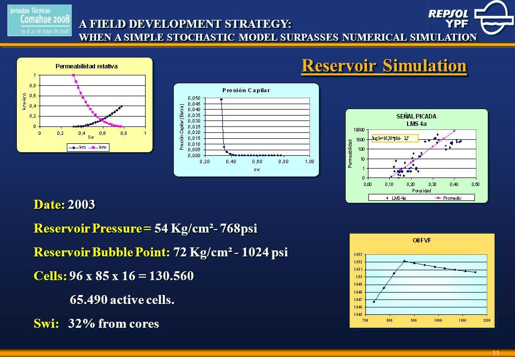 A FIELD DEVELOPMENT STRATEGY: WHEN A SIMPLE STOCHASTIC MODEL SURPASSES NUMERICAL SIMULATION A FIELD DEVELOPMENT STRATEGY: WHEN A SIMPLE STOCHASTIC MODEL SURPASSES NUMERICAL SIMULATION 11 Date: 2003 Reservoir Pressure = 54 Kg/cm²- 768psi Reservoir Bubble Point: 72 Kg/cm² - 1024 psi Cells: 96 x 85 x 16 = 130.560 65.490 active cells.