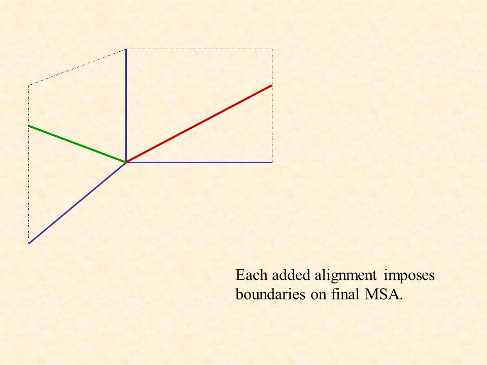 Each added alignment imposes boundaries on final MSA.